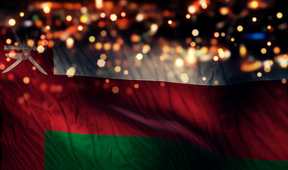 Oman National Flag Light Night Bokeh Abstract Background