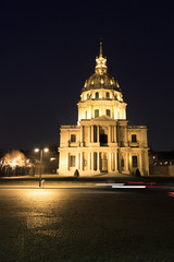 Central facade of Cathedral Les Invalides in Paris at night