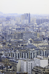 Panorama of buildings in Paris from Eiffel tower