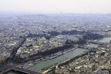 Panorama from Eiffel tower  Grand Palais, Place Concorde