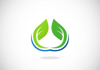 leaf vegetarian symbol abstract vector logo