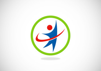 success people happy protection vector logo
