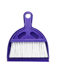 Small plastic broom isolated on white background