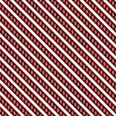 Red and White Dollar Signs and Stripes Pattern Repeat Background