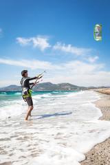 kitesurfer on the Presqu'ile de Giens Hyeres Beach