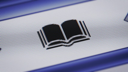 Book icon on the screen. Looping.