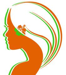 silhouette de jeune fille aux couleurs de l'Irlande