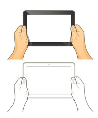 Tablet pc in hands. Eps10 vector illustration. Isolated on