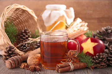 red tea and christmas ingredients