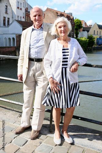Papiers peints Pont Senior couple travel in Europe enjoying city of Ghent, Belgium