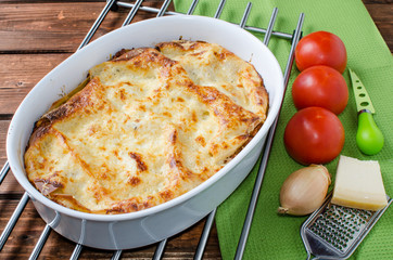 Lasagne bolognese in a baking dish