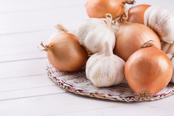 Fresh organic onion and garlic