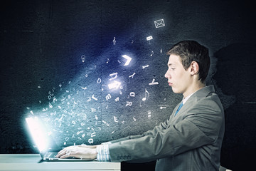 Guy using laptop