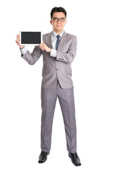 Asian businessman presenting digital computer tablet