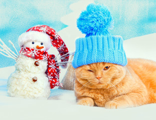 Cat wearing hat lying near snowman at Christmas background