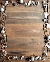 Silver Christmas ornament balls with leaves