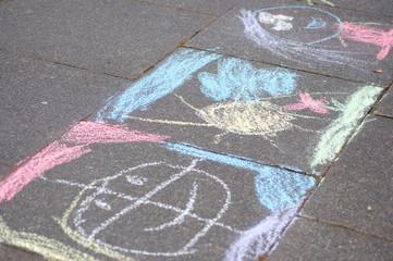 Chalk painting(s) on the sidewalk
