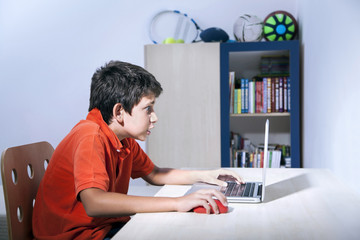 Young boy is playing game on computer