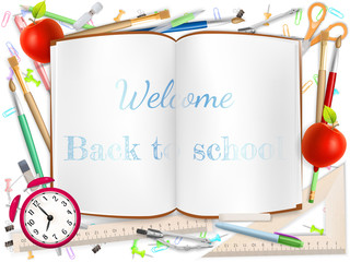 Welcome Back to school supplies. EPS 10