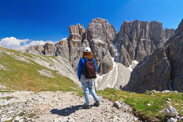 Dolomiti - hiker in Sella mount