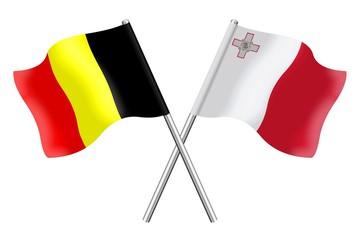 Flags: Belgium and Malta