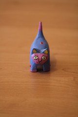 colorful wooden toy cat