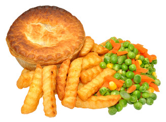 Savoury Meat Pie And Chips Meal
