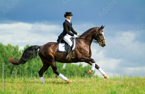 Foto op Canvas Paardensport Woman riding a horse on the hill. Equestrian sport - dressage.