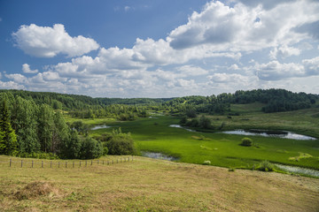 Arkhangelsk, Russia. River valley and water meadow