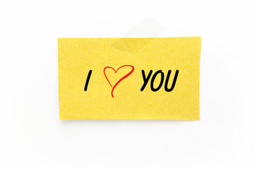 I love you paper note on white background