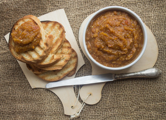 eggplant caviar and bread toast
