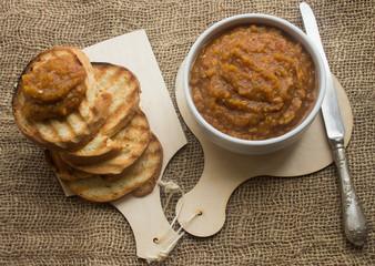 eggplant caviar and bread toast