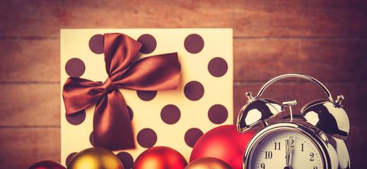 Vintage clock on christmas background