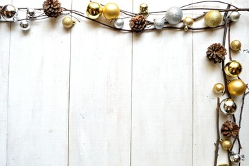 Gold and silver Christmas ornament balls