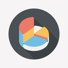 Business pie chart flat icon with long shadow,eps10