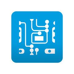 Etiqueta tipo app azul simbolo circuito