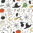 Happy Halloween. Seamless pattern with pumpkins, skulls, cats,