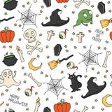 Happy Halloween. Seamless pattern with pumpkins, skulls, cats,