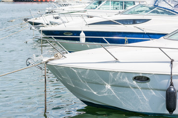 Modern Luxurious Yachts In Port Close Up