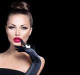 Fototapety Beauty fashion glamour girl portrait over black