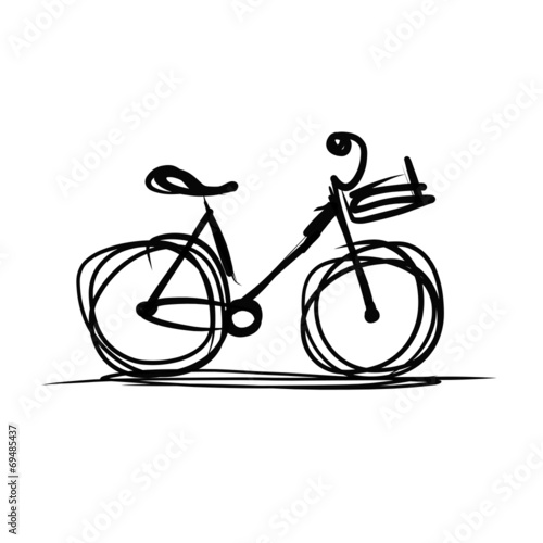 Bicycle with basket sketch for your design - 69485437