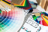 Selection of colors and materials for home renovation poster