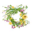 Obrazy na płótnie, fototapety, zdjęcia, fotoobrazy drukowane : Floral wreath sketch for your design