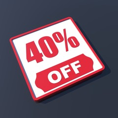 40 percent off on 3D red icon or button