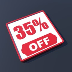 35 percent off on 3D red icon or button