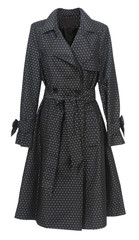 black coat with polka dots