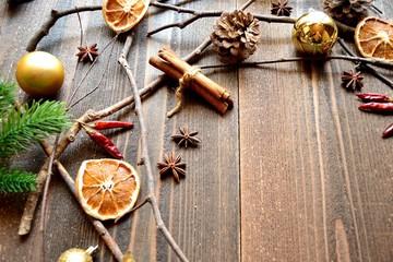 Dried orange,cinnamon stick and pine cone