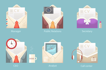 Vector illustration of a set of envelope business characters