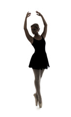 dancer girl silhouette isolated on white