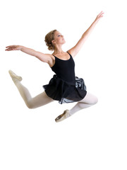 jumping dancer girl isolated on white